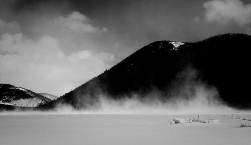 A winter view of lake Shikaribetsu, Hokkaido.