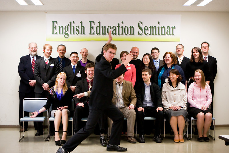 Today the English teachers of Tokachi got together for the yearly English Education Seminar. This was a great chance to share experiences, advice and of course, learn from one another. As always, a group picture is needed to conclude the day. I was asked to take the photo this time, and seeing as I'm usually not in, well, any of my photos, I decided to be the center of attention for this one.