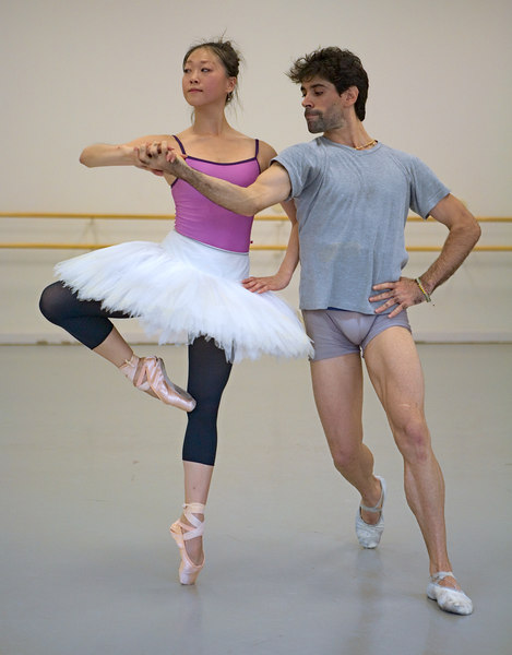 <h3>Rehearsing Don Quixote</h3> Misa Kuranaga & Reyneris Reyes at Boston Ballet's Studio  15 September 2006
