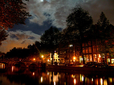 2006-10-06  Amsterdam Canal in the moonlight, on the Leidsegracht  Amsterdam, Netherlands