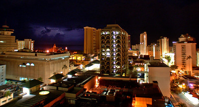 2007-01-08   Lightening stikes over the Royal Hawaiian (pink hotel) Waikiki, Honolulu Hawaii