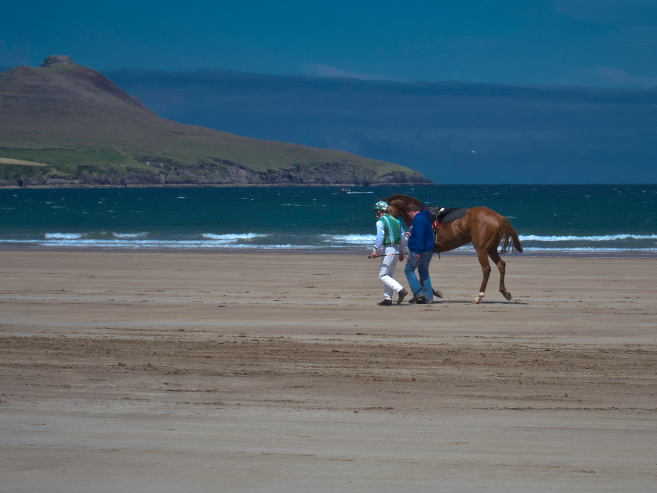 """""""The Long Walk Home """" The jockey fell off his horse at the start of the race,  This walk must have felt a long one,  <br /> <br /> Beál Bán, believed to be the most westerly racecourse in Europe, Horse racing took place on Saturday June 4th and on the beach (adjacent to Ballyferriter village) in the Dingle Peninsula"""