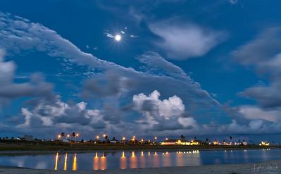 Full Moon over San Luis Pass, Galveston Island, Texas