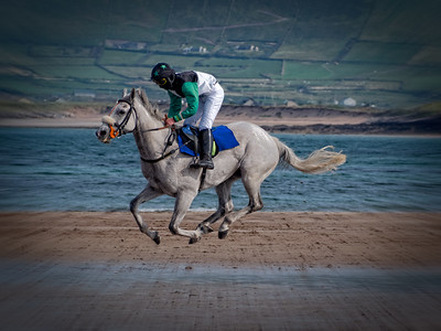 A horse in motion on a Dingle Peninsula beach