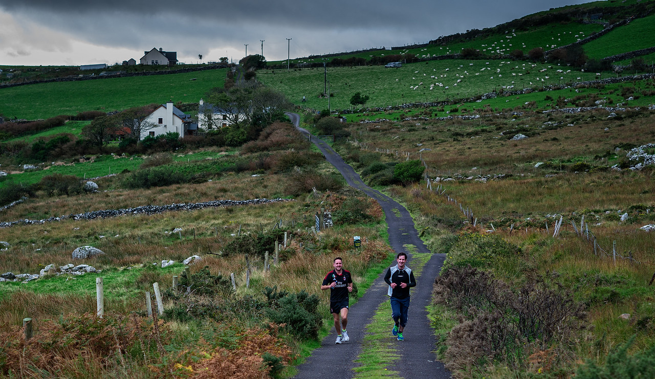 Taking a run on a country road in the Dingle Peninula