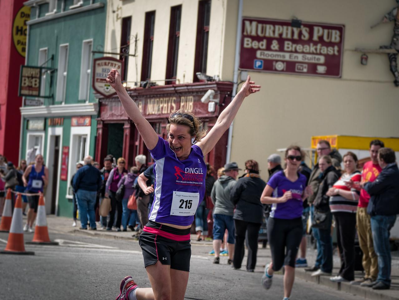 Delight at finishing the Women's Dingle marathon 2014