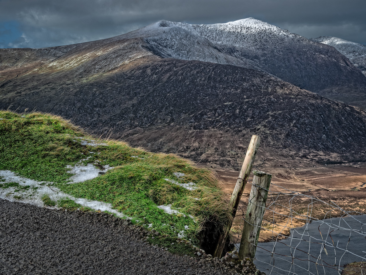 Ice and snow on the Conor Pass Dingle Peninsula