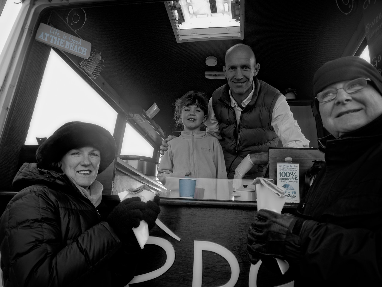 Happy punters at Couminole Strand enjoying a crepe and coffee