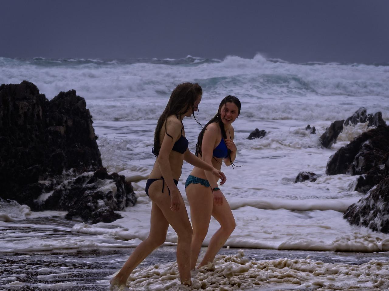 Bikini time on a Dingle Beach  on a windy wild day