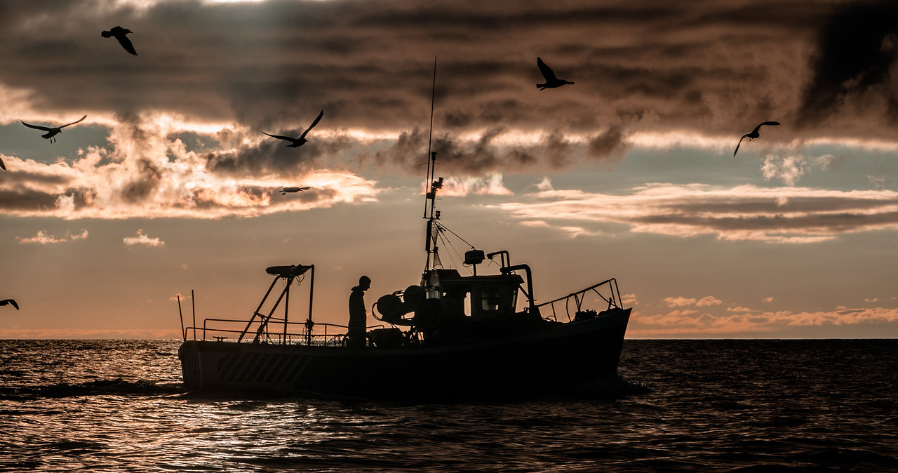 Two  fishermen fishing in Dingle Bay