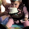 October 28, 2008. On her first birthday, little princess Isabella was <em>far</em> too dainty to touch that sticky cake with her hands.