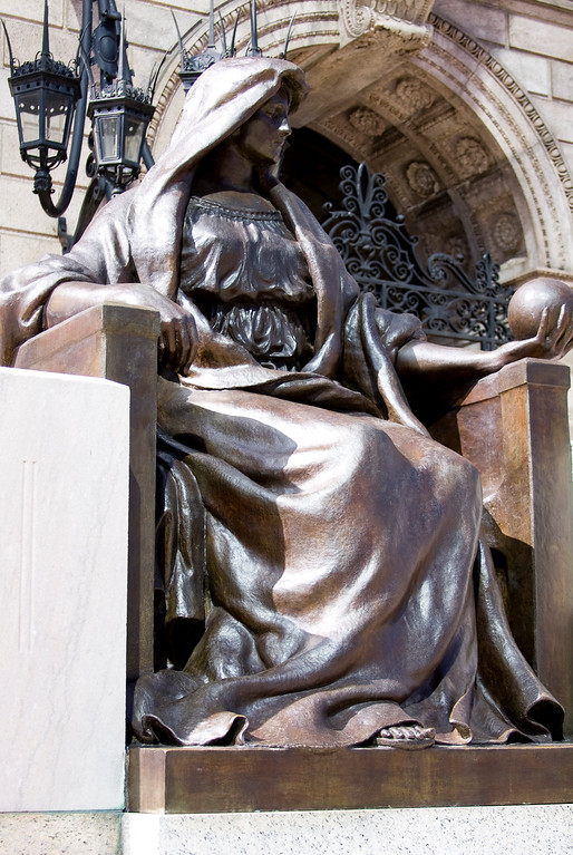 3/12/10  Statue of Learning<br /> <br /> Outside the Boston Public Library sits the elegantly robed and contemplative bronze Statue of Learning.  Her quiet wisdom made me pause in awe of things great and small.