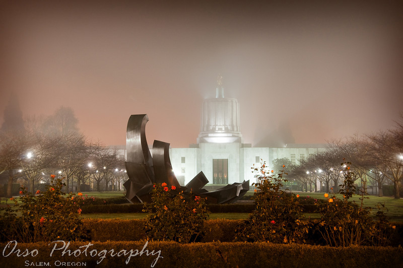 December 5, 2009.<br /> <br /> Gabe and I went to take night photos the other day, and I captured this one from the State Capitol building. This photo was taken around midnight, on a very foggy and cold night. Just playing with longer exposure photography...