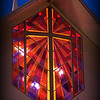 Sunday, March 29, 2009.<br /> <br /> Since it's Sunday, I am adding a church picture. This is one of the windows of our church at dusk (First Church of the Nazarene). Gabe took this picture a couple of weeks ago as we were working on a project and we needed a night picture of the church. I think it turned out good, specially the colors.
