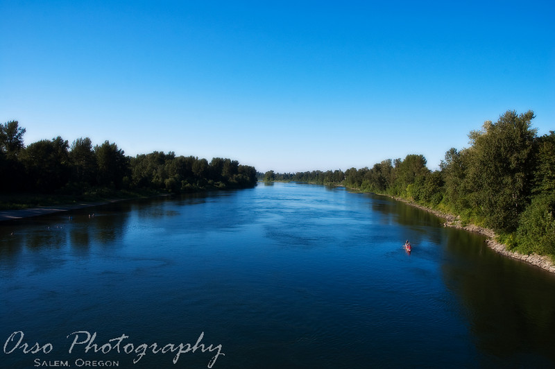 July 22, 2009.<br /> <br /> I took this shot of the Willamette River here in Salem when Gabe and I went for a walk at Riverfront Park. I enhanced the 'blue' tones a little in Lightroom, but not much. I soften it in Photoshop.