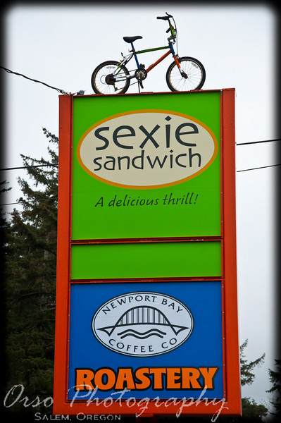 Thursday, March 26, 2009.<br /> <br /> We drove back to Salem today after spending a few days at the Oregon coast. Jeneé and I saw this sign and wondered what's up with the bike all the way to the top? We also wondered what a Sexie Sandwich is (besides 'A delicious thrill!'). We will have to give this a try next time we see one of these places... If any of you have eaten at a place like this, please share... :-)<br /> <br /> I wanted to thank you all who commented on my Daily Picture from yesterday. Thank you for stopping by and leaving a comment!