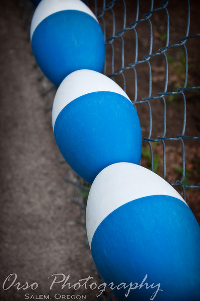 August 5, 2009.<br /> <br /> I took this photo while watching Eli and Noah at their swimming lessons. The way these were attached to the fence looked cool and I really liked the bright color blue.