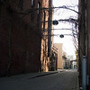 Monday, March 16, 2009.<br /> <br /> I was organizing some old picture galleries in Adobe Lightroom when I came across this photo Gabe took while we were downtown Salem a while back. This is one of the several alley ways we have and when spring starts, these branches will have leaves and it will look even nicer. I like how deserted this is and the combination of bricks.