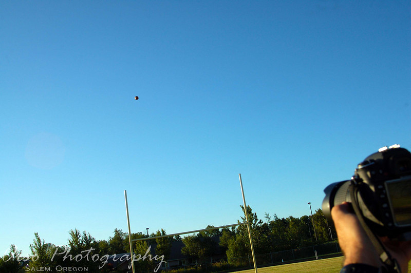 Tuesday, July 6, 2010<br /> <br /> Noah and I went to watch Gabe's football practice today. Gabe will be the kicker and he was practicing field goals today. Here is a shot Noah took that I really liked. I was sitting next to him recording a video of the same kick.