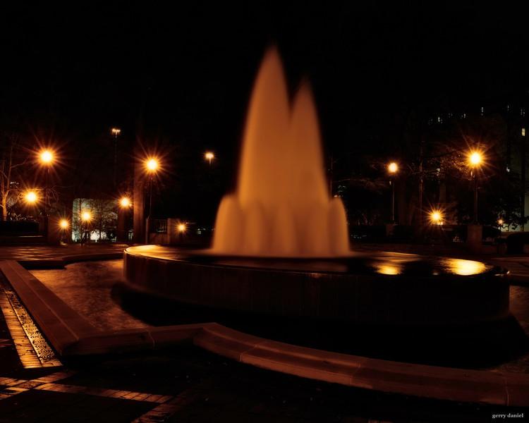 fountain at night, Linn Park, Birmingham, Alabama