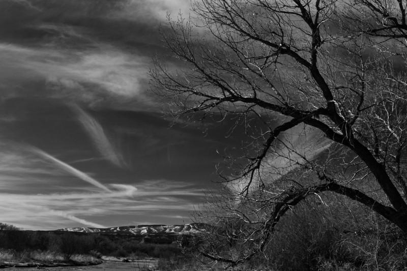 along a dirt road west of Santa Fe, New Mexico