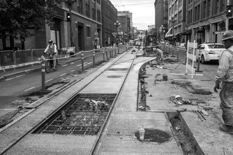 Progress on the new streetcar tracks near my office.