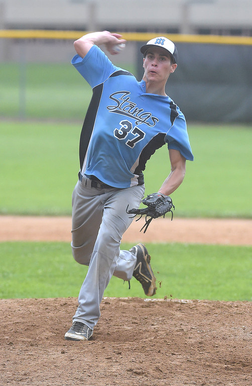 . PETE BANNAN  DIGITAL FIRST MEDIA     Media pitcherCaleb Mahalik throws against Aston in Intermediate EDCO baseball finals Tuesday at Buggy Field in Aston.
