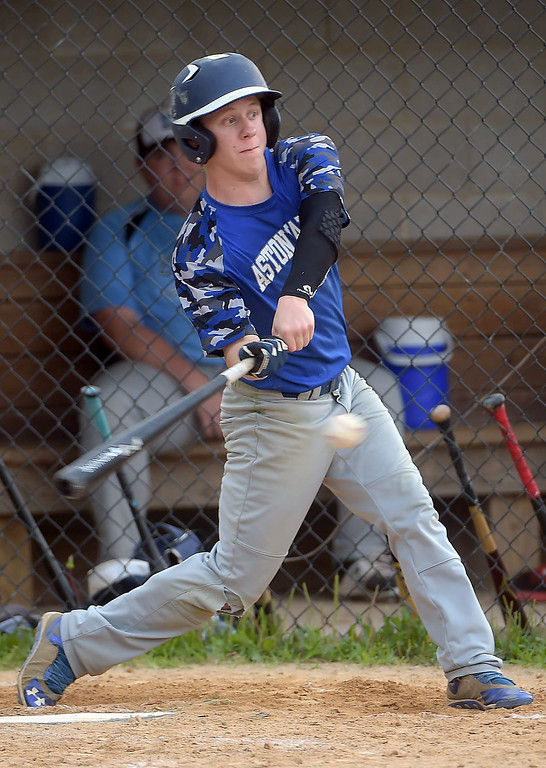 . PETE BANNAN  DIGITAL FIRST MEDIA    Aston Valley hitter Ryan Kester hit a homerun in the Intermediate EDCO title over Media Thursday evening at Spington Middle School.