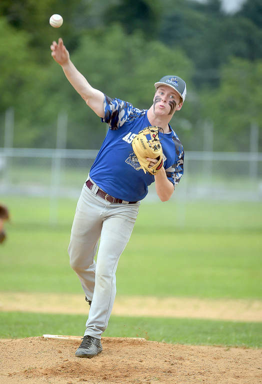 . PETE BANNAN  DIGITAL FIRST MEDIA    Aston Valley pitcher Danny Guinan throws in the Intermediate EDCO title game against Media Thursday evening at Spington Middle School. Guinan pitched a compete game in the 4-1 victory.