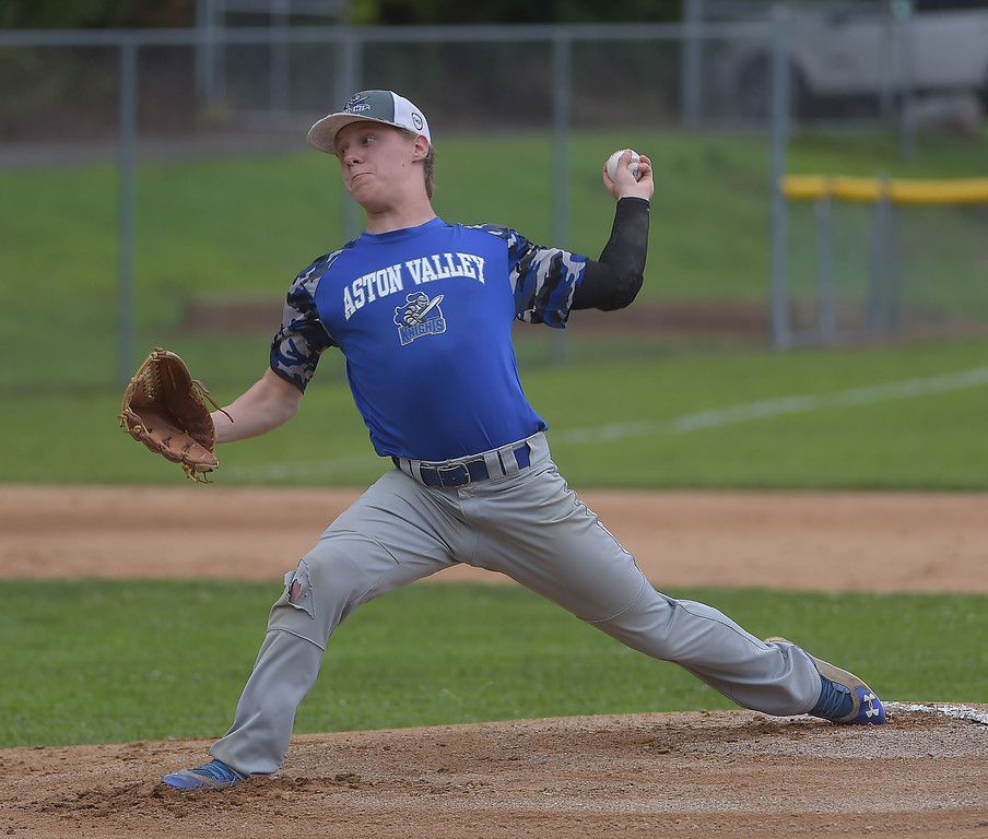 . PETE BANNAN  DIGITAL FIRST MEDIA    Aston Knights  Ryan Kester throws against Media in Intermediate EDCO baseball finals Tuesday at Buggy Field in Aston. Kester scored the only run in the game which tied the three game series.
