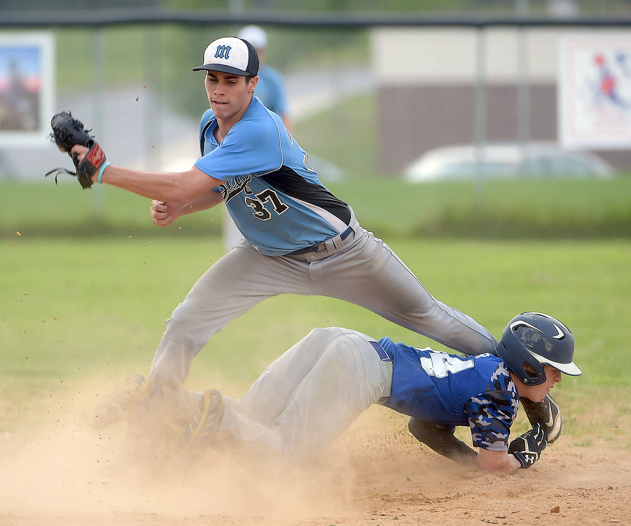 . PETE BANNAN  DIGITAL FIRST MEDIA    Aston Valley runner Ryan Kester slides safely into second as Media\'s (37) Caleb Mahalik in the Intermediate EDCO title game Thursday evening at Spington Middle School.