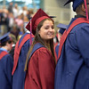 PETE  BANNAN-DIGITAL FIRST MEDIA          Sarah Nicole Zanghi looks for her family during Cardinal O'Hara's graduation held at the Mirenda Center at Neumann University  Wednesday morning.