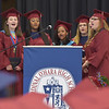PETE  BANNAN-DIGITAL FIRST MEDIA          Gianna Barone, Grace Grassi, DaiShona Jones, Emma Markley, Colleen Troxel and Breanna Johnson,(not in order) sing the Cardinal O'Hara Alma Mater to end commencement at the Mirenda Center at Neumann University  Wednesday morning.