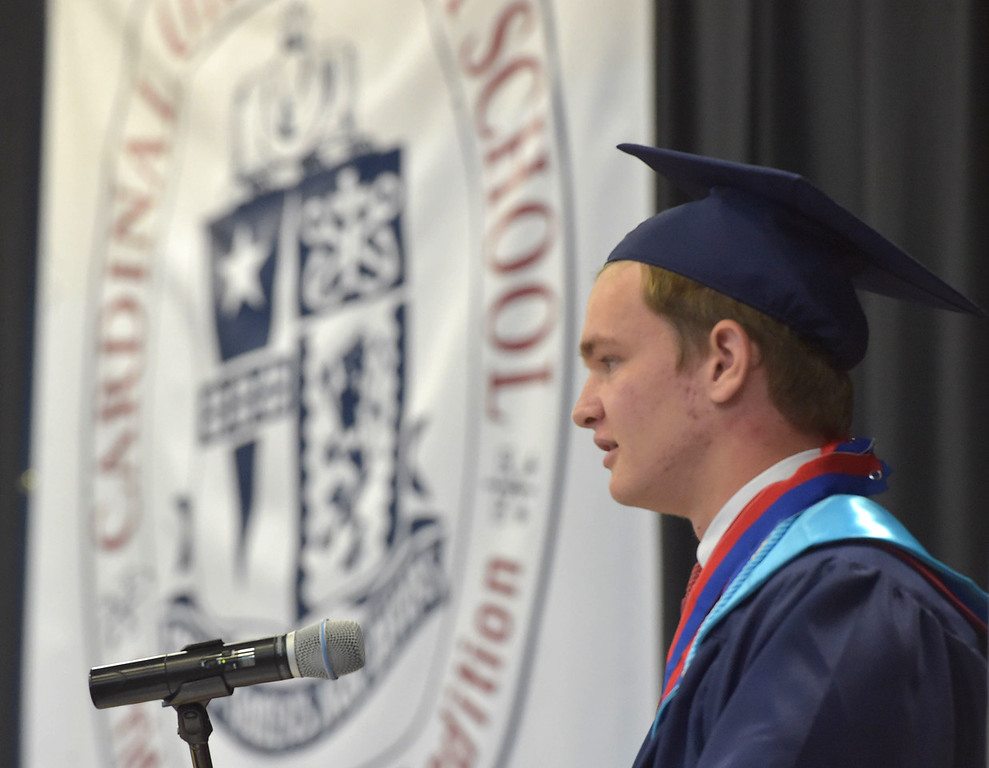 . PETE  BANNAN-DIGITAL FIRST MEDIA            Cardinal O\'Hara Valedictorian Travis C. Gaskill  speaks during Commencement held at the Mirenda Center at Neumann University  Wednesday morning.