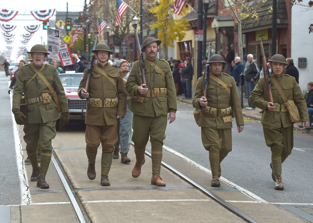 . Among those marching in the parade were members of the 78th re-enactors from Delaware County. One of their members,Matt Moore of Aston pointed out this 1917 Enfield rifle was made at the Baldwin locomotive plant in Eddystone.