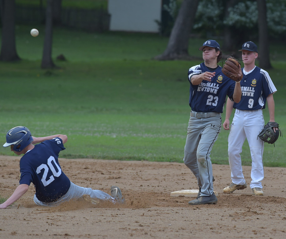 . PETE  BANNAN-DIGITAL FIRST MEDIA          Broomall-Newtoen\'s (23) Joey Lucchesi turns the double play as Springfield\'s (20) Tanner Robinson slides into second.