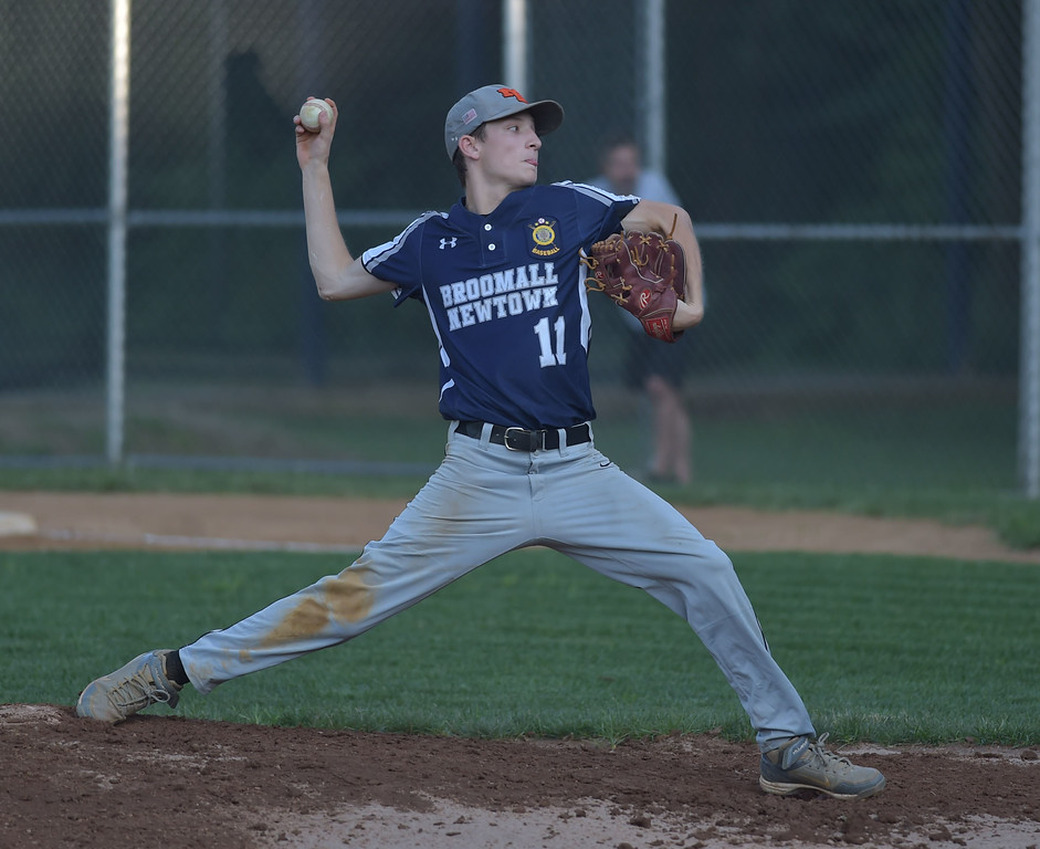 . PETE  BANNAN-DIGITAL FIRST MEDIA         Broomall-Newtown pitcher (11) Tyler Bogan held Springfield scoreless in EDCO Thursday at Thomas Field in Marple. Broomall-Newtown went on to win and take the title two gmes to zero.