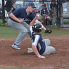 PETE  BANNAN-DIGITAL FIRST MEDIA         Springfield pitcher (31) tags out Broomall-Newtown's (16) after a passed ball at home.