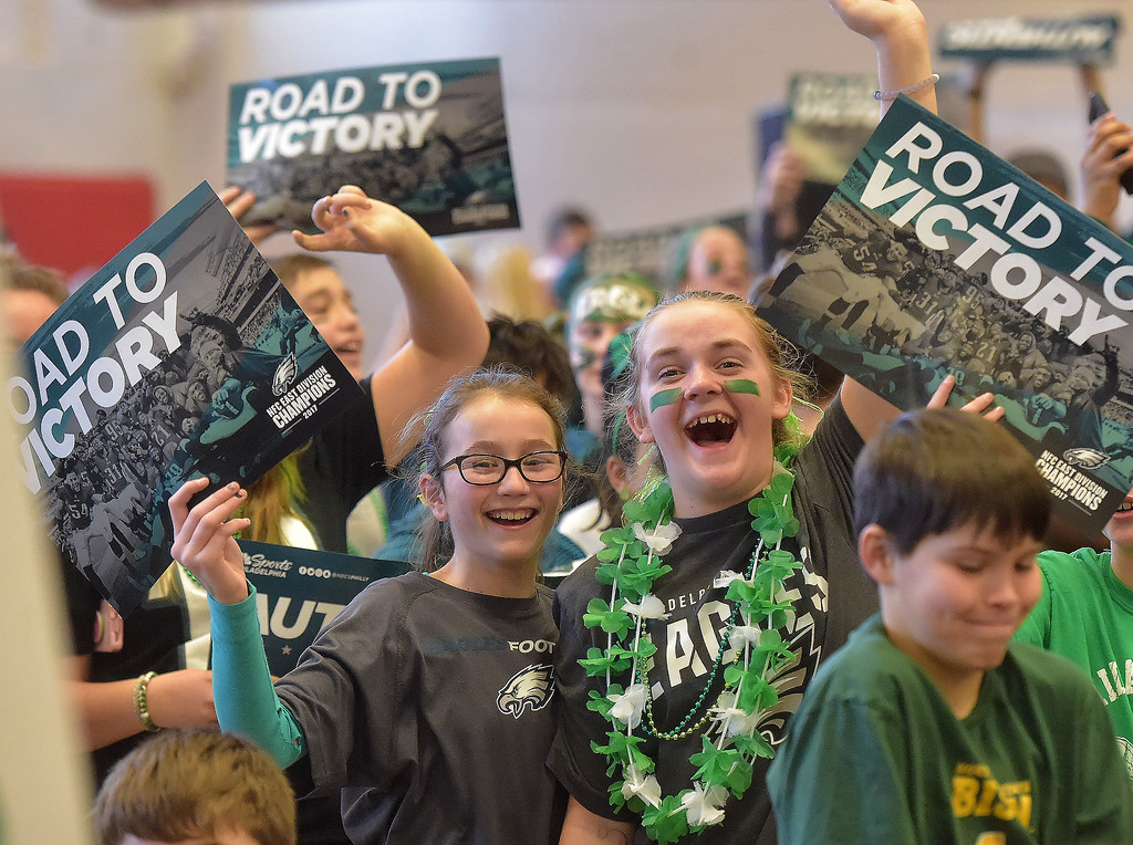. PETE BANNAN -DIGITAL FIRST MEDIA        Haverford Middle School students cheer during Wednesday\'s Eagles Rally.