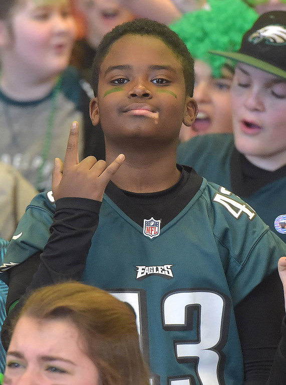 . PETE BANNAN -DIGITAL FIRST MEDIA        A Haverford Middle School student cheers during Wednesday\'s Eagles Rally.