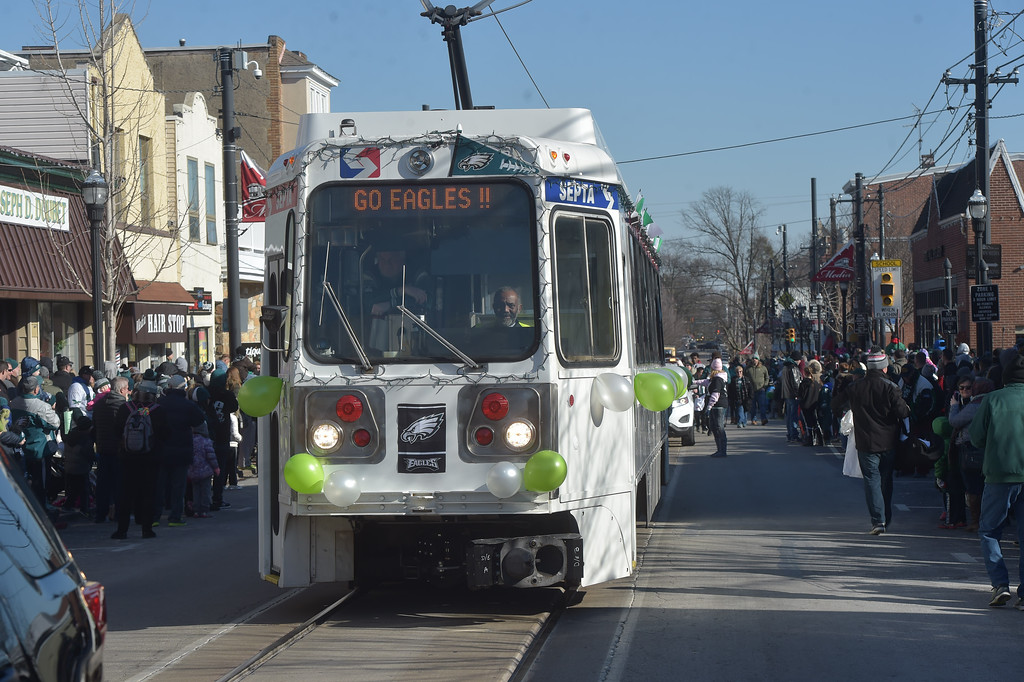. PETE BANNAN-DIGITAL FIRST MEDIA       The Septa trolley led the Media Eagles parade down State St. Saturday.