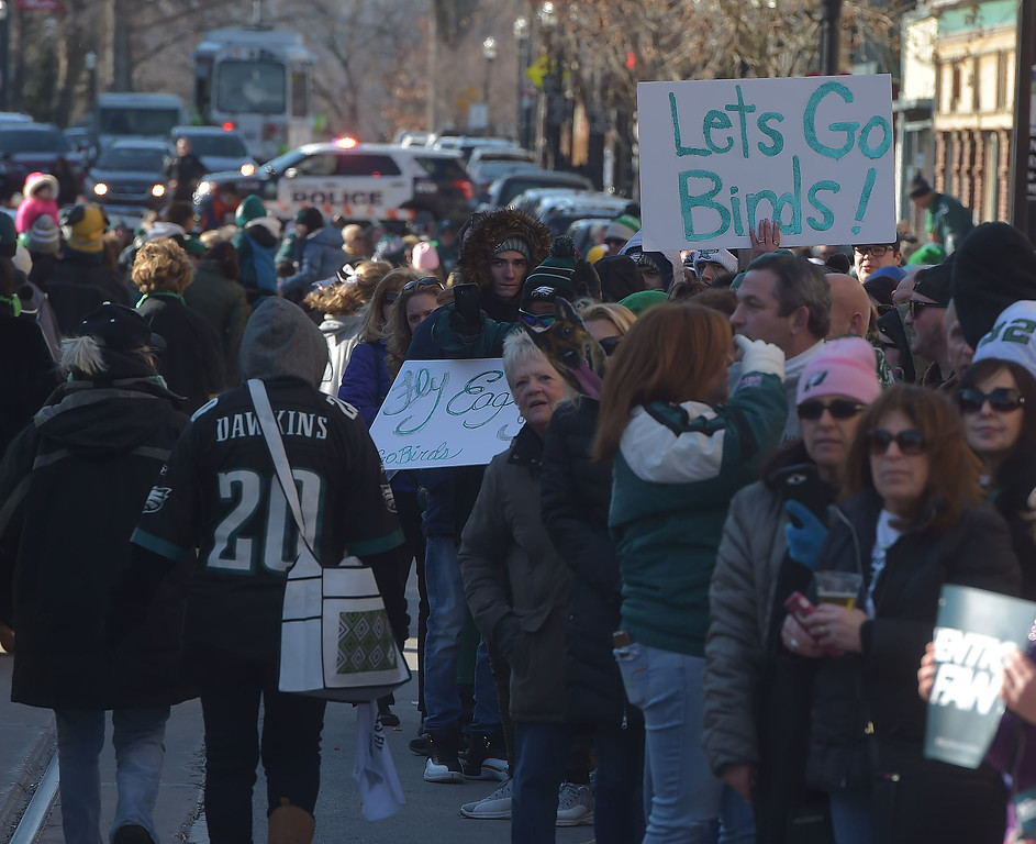 . PETE BANNAN-DIGITAL FIRST MEDIA        The streets were packed fo the Media Eagles parade Saturday.