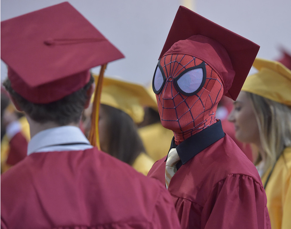 . PETE  BANNAN-DIGITAL FIRST MEDIA      Spiderman, aka Chris Plante was one of the 425 graduates at  Haverford High School  commencement exercises at Hagan Arena on the campus of St. Joseph\'s University Thursday evening.
