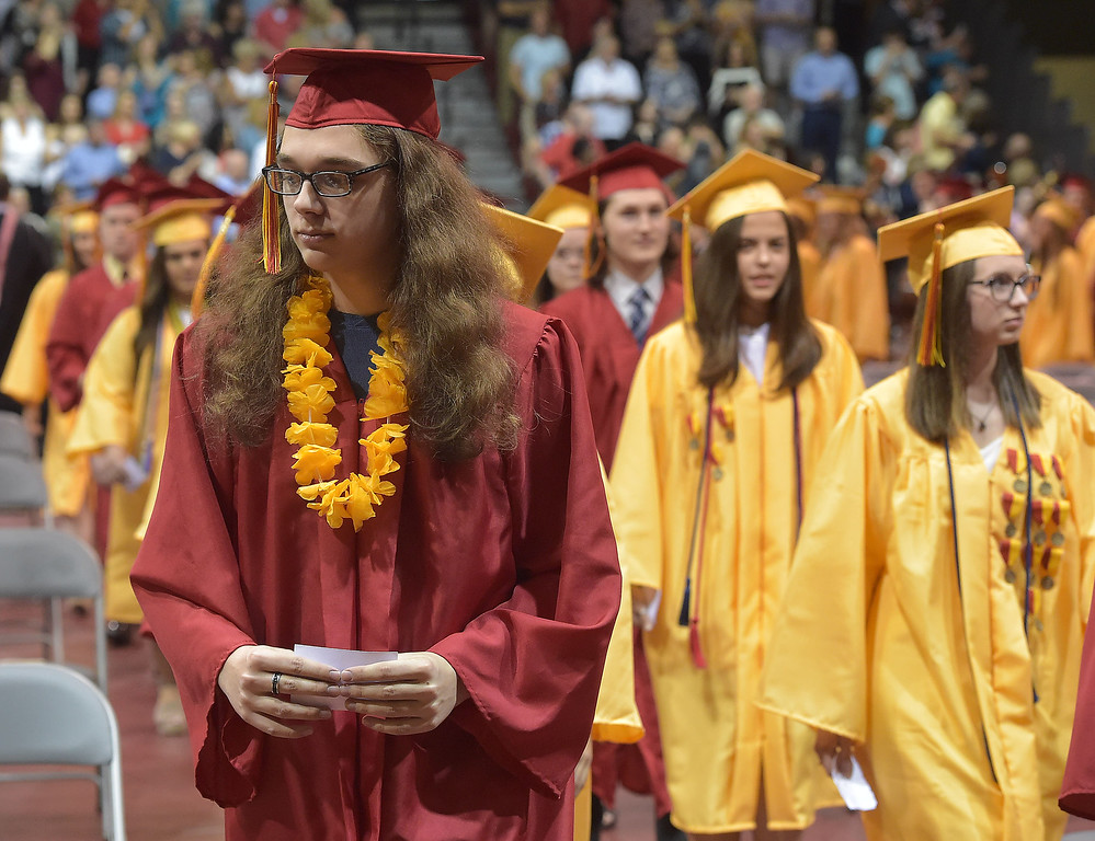 . PETE  BANNAN-DIGITAL FIRST MEDIA        Haverford High School  graduated 425 seniors including Maxwell Philip Duzen at commencement exercises at Hagan Arena on the campus of St. Joseph\'s University Thursday evening.