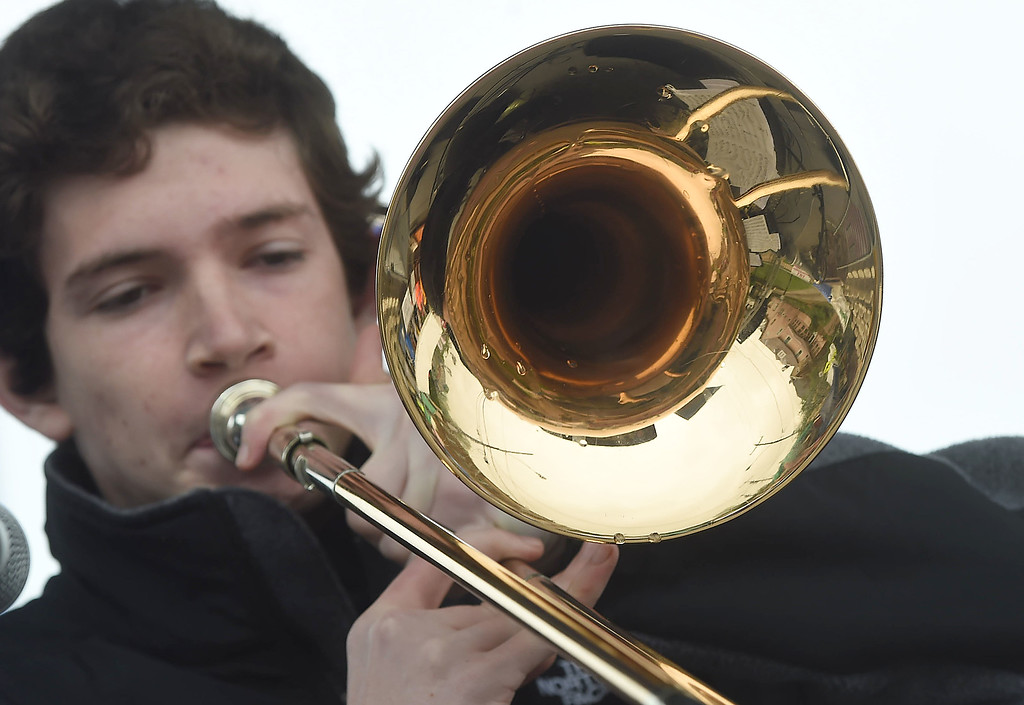 . PETE BANNAN-DIGITAL FIRST MEDIA  Trumpeter Mike Kaplan of the Haverford Jazz ensemble performs a solo at the Haverford Spring Music Festival on Sunday May 1 on Brookline Blvd. in Havertown. The rain or shine event  featured six bands including The Verve Pipe and Chico\'s Vibe.