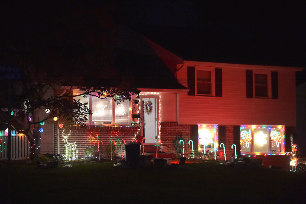 . This house in Broomall at Westbourne Dr. and Warren Blvd in Lawrence park lights the night with candycanes, reindeer and other festive ornaments. PETE BANNAN-DIGITAL FIRST MEDIA