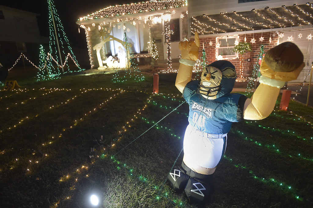 . PETE BANNAN-DIGITAL FIRST MEDIA   	For the holidays, Steve Reynolds has decorated his Marple home in a salute to the Eagles, including  cheerleaders, players and a lighted field with hash marks and goalposts.
