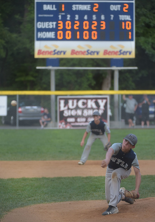 . PETE BANNAN  DIGITAL FIRST MEDIA   Owen Mathes throws the final pitch of the District 19 Little League finals match-up between Drexel Hill and Marple.  Marple won 10-1, Mathes also had two homeruns in the victory.