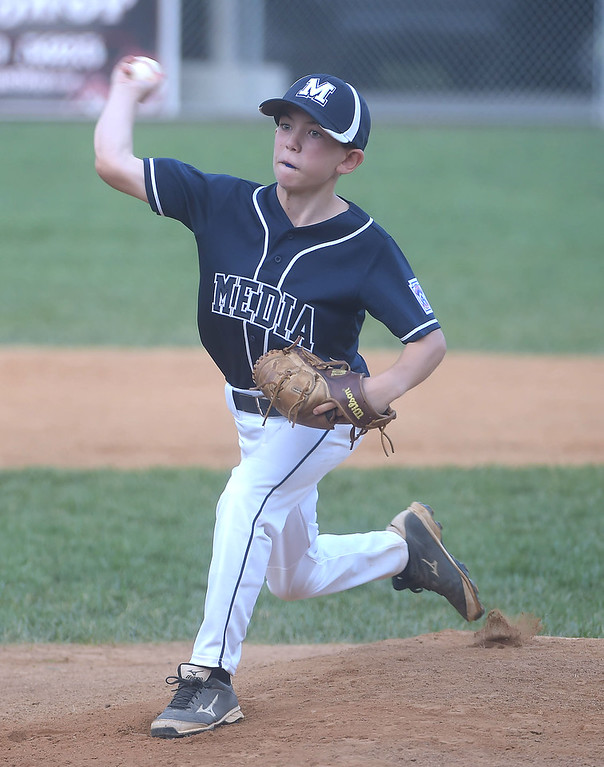 . PETE BANNAN  DIGITAL FIRST MEDIA  Media pitcher Matt Hamilton throws against South Marple in their 14-1 victory in District 19 Little League playoffs at Aston-Middletown  Monday evening.
