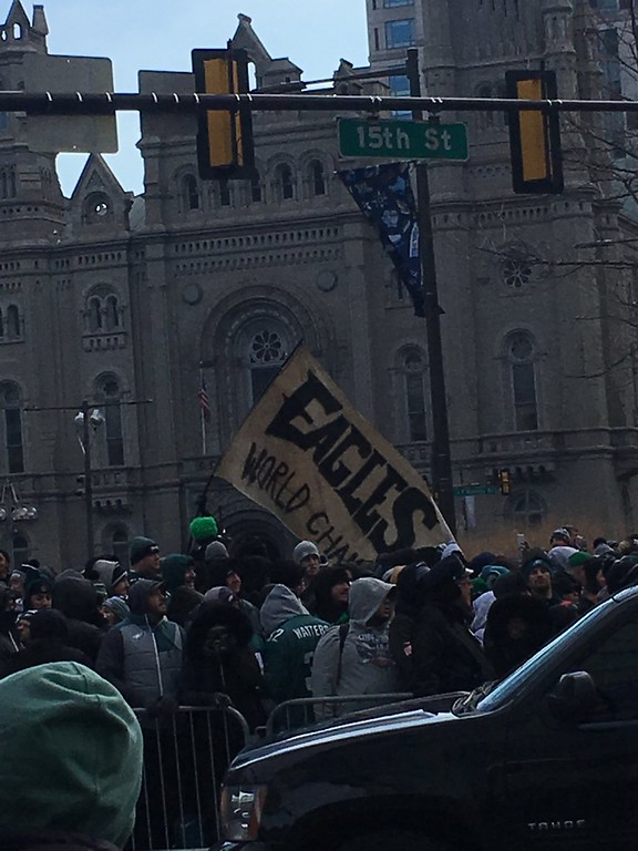. Fans get fired up in Center City. Photo by Kathleen E. Carey